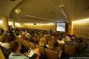 Attendees at the Dallas Mineral Collecting Symposium in the Crum Auditorium, Collins Center, Southern Methodist University