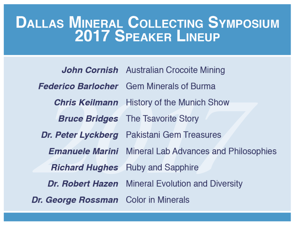 List of speakers for the 2017 Dallas Mineral Collecting Symposium